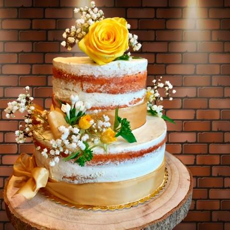 Tarta Boda modelo Naked cake flores
